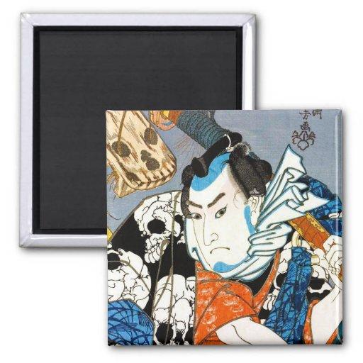 Arte japonés fresco del cráneo del samurai del hér imán para frigorífico