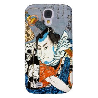 Arte japonés fresco del cráneo del samurai del samsung galaxy s4 cover