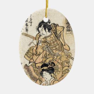 Arte japonés fresco del guerrero del samuraj del ornatos