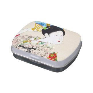 Arte japonés fresco del retrato del geisha de la s jarrones de dulces