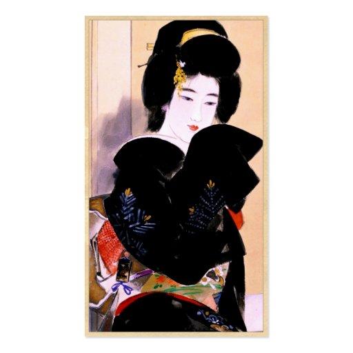 Arte japonés fresco del retrato del geisha de la s tarjeta personal