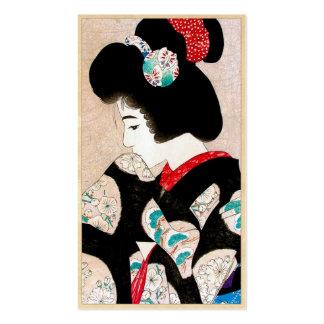 Arte japonés fresco del retrato del geisha de la s tarjetas de visita