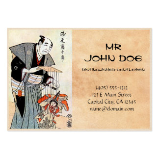 Arte japonés oriental clásico del ukiyo-e del titi plantilla de tarjeta de visita