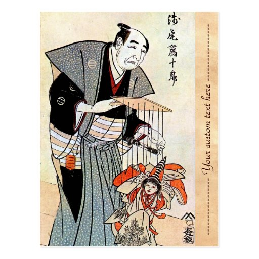 Arte japonés oriental clásico del ukiyo-e del titi tarjeta postal