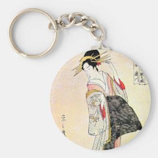 Arte japonés oriental clásico fresco del geisha llaveros