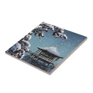 Arte japonés oriental fresco de la escena del invi azulejo cuadrado pequeño