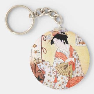 Arte japonés oriental fresco de la fan del geisha llaveros