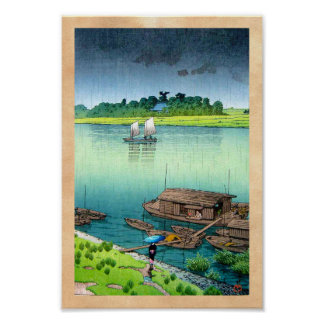 Arte japonés oriental fresco de la lluvia del lado posters