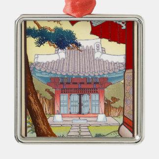Arte japonés oriental fresco de la pagoda del adorno navideño cuadrado de metal