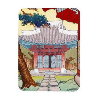 Arte japonés oriental fresco de la pagoda del wood iman de vinilo