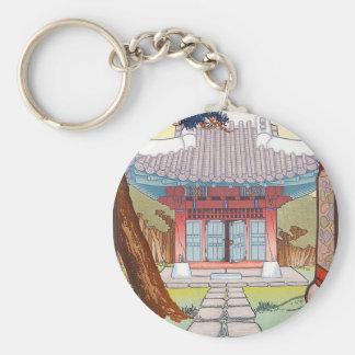 Arte japonés oriental fresco de la pagoda del wood llavero personalizado