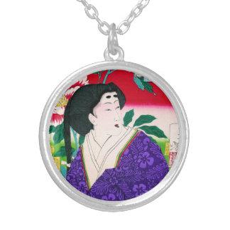 Arte japonés oriental fresco de la señora del geis joyería