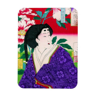 Arte japonés oriental fresco de la señora del geis iman rectangular