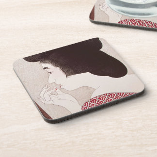 Arte japonés oriental fresco de la señora del geis posavasos de bebida