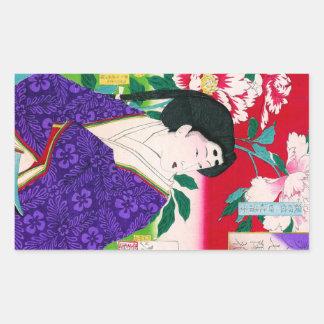 Arte japonés oriental fresco de la señora del pegatina rectangular