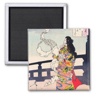 Arte japonés oriental fresco del geisha del woodpr imán cuadrado