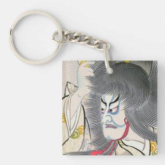 arte japonés oriental fresco del samurai del kabuk llaveros