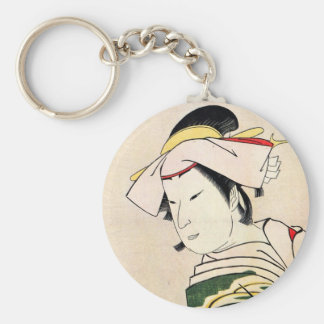 Arte japonés oriental fresco del tatuaje del geish llaveros