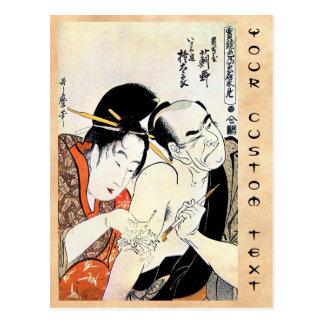 Arte japonés oriental fresco del tatuaje del geish tarjeta postal