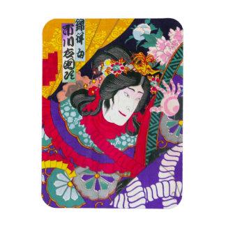 Arte japonés oriental fresco del woodprint del kab imán foto rectangular