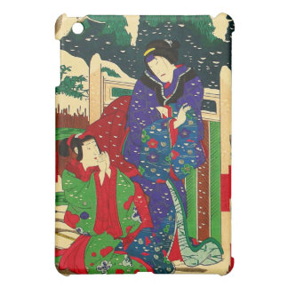 Arte japonés - pintura de dos mujeres en la nieve