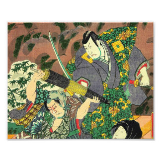 Arte japonés - pintura de luchar de dos samurais cojinete