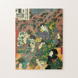 Arte japonés - pintura de luchar de dos samurais puzzle