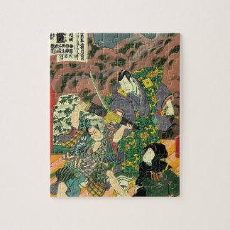 Arte japonés - pintura de luchar de dos samurais rompecabezas con fotos