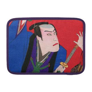 Arte japonés - pintura de un samurai enojado fundas para macbook air