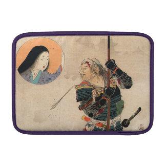 Arte japonés - pintura de un samurai y de su funda para macbook air