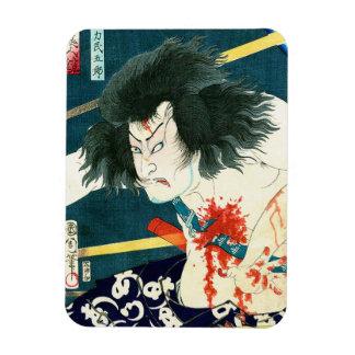 Arte japonés retro fresco del guerrero del samurai iman de vinilo