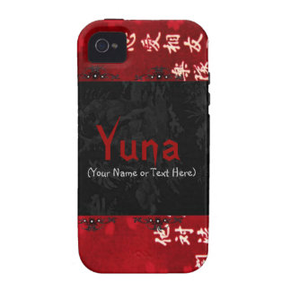 Arte japonés rojo elegante iPhone 4 fundas