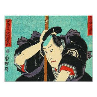 Arte japonés - samurai en sostener una lanza fotografías