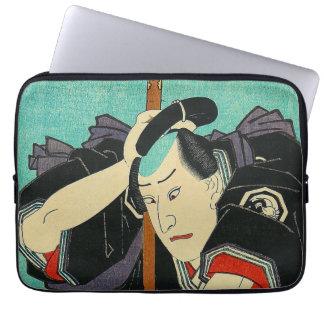 Arte japonés - samurai en sostener una lanza mangas computadora