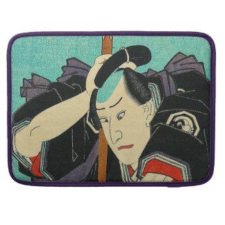 Arte japonés - samurai en sostener una lanza fundas para macbooks