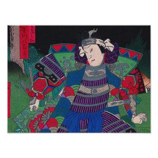 Arte japonés - samurai general en armadura llena cojinete