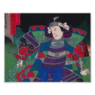 Arte japonés - samurai general en armadura llena arte fotográfico
