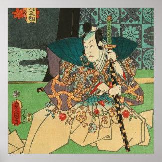 Arte japonés - samurai que sostiene una espada de póster