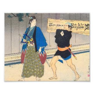 Arte japonés - samurai y su criado fotografía