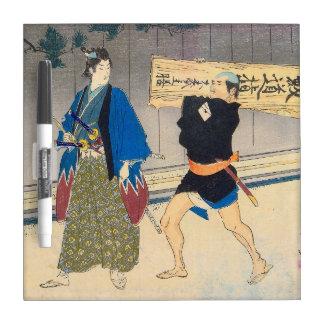 Arte japonés - samurai y su criado tableros blancos