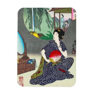 Arte japonés tradicional fresco del geisha del woo iman rectangular