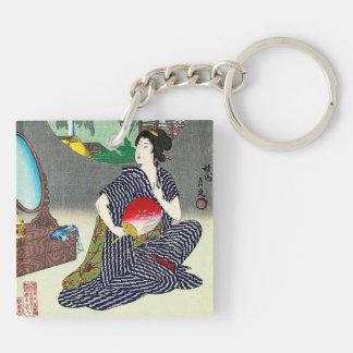 Arte japonés tradicional fresco del geisha del woo llaveros