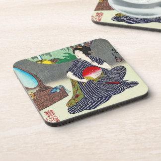 Arte japonés tradicional fresco del geisha del woo posavaso