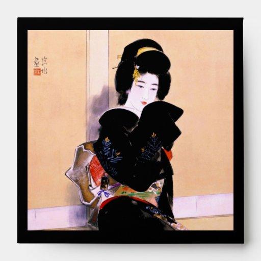Arte japonés tradicional oriental fresco de la señ sobre