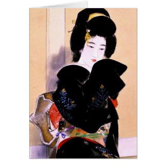 Arte japonés tradicional oriental fresco de la tarjeta pequeña