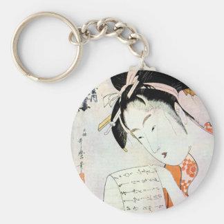 Arte japonés tradicional oriental fresco del geish llavero personalizado
