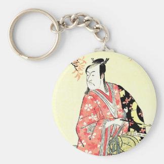 Arte japonés tradicional oriental fresco del samur llavero