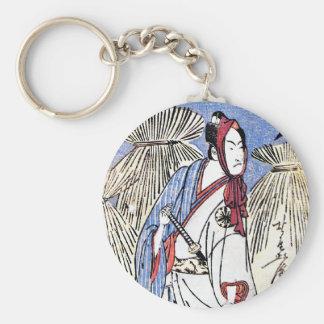 Arte japonés tradicional oriental fresco del samur llaveros