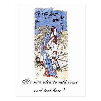 Arte japonés tradicional oriental fresco del samur tarjetas postales
