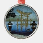 Arte japonés Ukiyo-e de Woodblock de la lluvia de Adorno Navideño Redondo De Metal